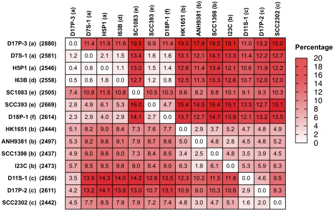 Pair-wise genomic comparisons among A. actinomycetemcomitans strains. A heat map of the genome variation among 14 A. actinomycetemcomitans strains is shown. The numbers in the box show the % of protein-coding genes found in one genome (left) but not another. The data are organized by serotypes; a (D17P3, D7S-1, and H5P-1), d (I63B), e (SC1083), e (SCC393), f (D18P1), b (HK1651, ANH9381, SCC1398, I23C), c (D11S-1, D17P2, SCC2302). The patterns of genome similarity mirror those found in phylogenetic analysis by 16S rRNA gene sequences or 25 housekeeping genes shown in Figures 1 and 2 . The numbers in parenthesis on the left of the map indicate the numbers of protein-coding genes.