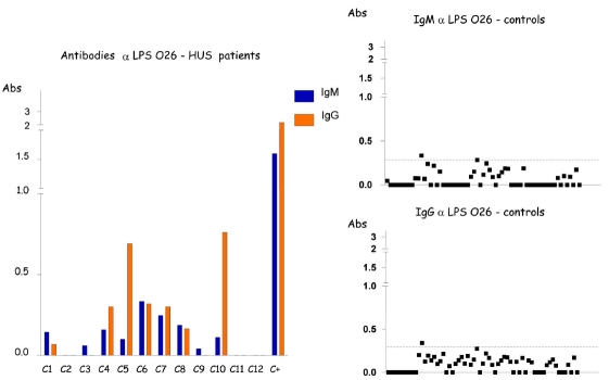 Detection of IgM and IgG antibodies against LPS O26 in the serum from patients with HUS and controls by ELISA. Serum samples were diluted 1:500 in PBS-Tween, and absorbance values (Abs) were measured at 492 nm.
