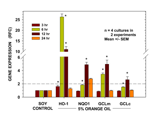 Kinetics of orange oil-induced antioxidant gene expression . Expression patterns of antioxidant genes HO-1 , NQO1 , GCLm , and GCLc in BEAS-2B cells at designated times following the 15 min treatment period. Data are presented as fold change from time-matched soy oil-treated controls after normalization to the expression of actin. Presented are results from two separate experiments. The dashed line indicates the 2-fold level of increased expression. Results are expressed as mean ± SEM. * indicates significantly different from time-matched soy oil-treated controls (P