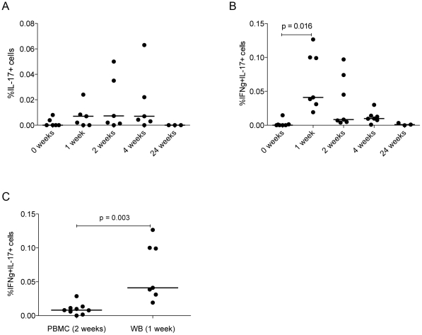 IL-17 and IFN-γ production in whole blood peaks 1 week post-vaccination. Whole blood (WB) from vaccinated subjects was stimulated for 6 h with a pool of 66 Ag85A peptides. Phytohaemagglutinin (PHA)-treated and untreated cells were used as positive and negative controls respectively. Lymphocytes were gated for and cytokine-expressing cells quantified as described above. Percentages of IL-17 + and IFN-γ + IL-17 + cells responding to the Ag85A peptide pool (with the percentages from unstimulated cells subtracted) are shown in (A) and (B). Differences in percentages of cells at the relevant peak time point in PBMC vs. WB is shown in (C). n = 7.