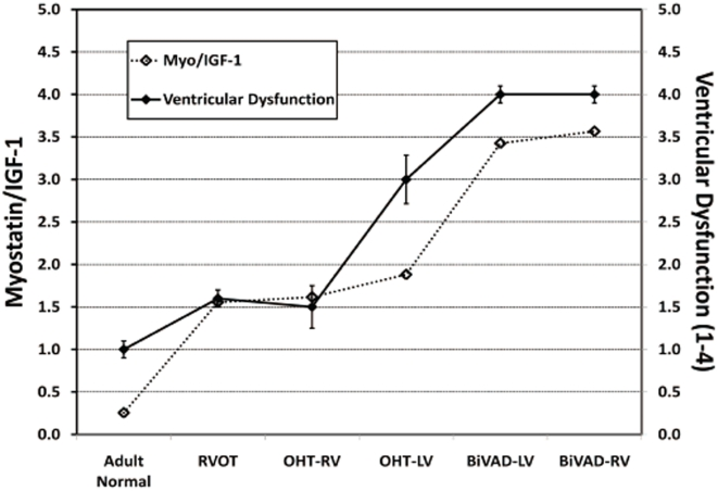 Myostatin to IGF-1 Ratio. The relationship of myostatin/IGF-1 (left axis) and ventricular dysfunction (right axis) has been plotted for Adult Normal (n = 5), pediatric right ventricular outflow tract (RVOT) (n = 3), pediatric orthotopic heart transplant (OHT) (n = 7 paired LV and RV), and pediatric biventricular assist device (BiVAD) myocardial tissue samples (n = 3 paired LV and RV). A strong association between increased myostatin/IGF-1 ratios and worsening ventricular dysfunction exists: Adult Normal samples had low myostatin/IGF-1 levels, while BiVAD samples displayed high myostatin/IGF-1 levels.