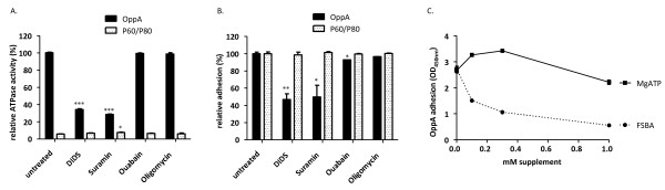 Adherence of OppA to HeLa cells in the presence of ATPase inhibitors . OppA (black bars) or P60/P80 as a control (white bars), (0.5 μg OppA/well and 0.3 μg P60/well) were preincubated with 200μM DIDS, suramin, ouabain or oligomycin for 20 min before analyzing in adhesion assay. ATPase activity (A) and adhesion efficiency (B) were measured and depicted in relation to the untreated OppA. OppA (0.5 μg protein) was preincubated with FSBA or MgATP for 20 min and then added to HeLa cells (C). Adherence of OppA to HeLa cells in dependence on supplement concentration was determined as described in Material and Methods. Data represent means of three independent experiments with triplicate samples in each experiment. Statistical analysis was performed by unpaired t-test and statistically significant results designated by *. *P