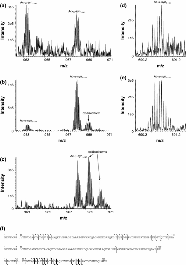 Nanoflow LC-ESI-FTICR full scan mass spectra showing the α-syn forms Ac-α-syn 1–139 ( a , b ) and Ac-α-syn 1–140 ( a – c ). Note also the presence of mono- and dioxidized forms. The spectra are summed over a 1.5 min retention time interval around 46 min (50 min gradient). In the spectra the 15 + charge state of the Ac-α-syn 1–139 and Ac-α-syn 1–140 forms are indicated. One SIM scan (3 microscans) of the 15 + ion of the Ac-α-syn 1–103 form ( d , e ). Spectra from the LC–ESI–MS analysis of the Tris fraction of the brain homogenate ( a and d ). Spectra from the LC–ESI–MS analysis of the Triton ® fraction of the brain homogenate ( b and e ). Spectra from the LC–ESI–MS analysis of the SDS fraction of the brain homogenate ( c ). The detected y and b fragments are indicated in the respective sequences ( f ). Cleavage sites labeled with bold lines are confirmed by database search