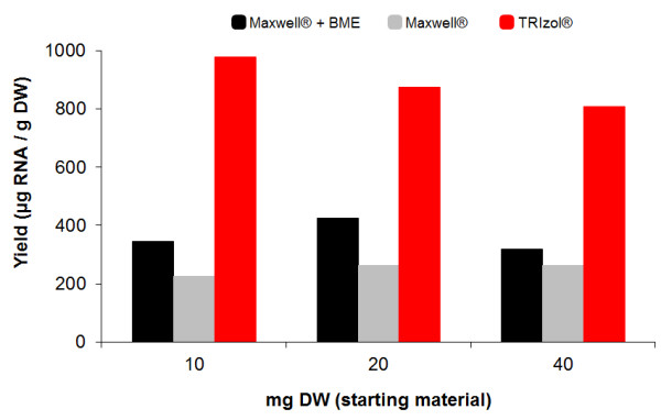 Comparison of RNA extraction methods . RNA yields under three different extraction methods: TRIzol ® , Maxwell ® and Maxwell ® plus the addition of BME. Three amounts of peanut hairy root were evaluated: 10, 20 and 40 mg DW. Lyophilized tissue of 9-day old root culture was extracted under each method. RNA was quantified by Quant-iT™ RiboGreen ® RNA kit. Data shown represents a single replicate per method at 3 distinct amounts of starting material.