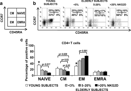 Distribution of CD4+ and CD8+ T cells into naïve, central memory, effector memory, and effector memory RA. CD45RA and CCR7 expression was analysed by flow cytometry in isolated CD4+ T cells from young people ( n  = 20) and elderly subjects with different frequencies of NKG2D (