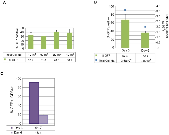 Identifying optimal transfection conditions for CD34+ cells. A. PBMCs (donor GG) were isolated and purified for CD34-expression and expanded for 6 days. A range of cell numbers were transfected with a control, oriP/EBNA1-based plasmid expressing GFP. Transfection efficiency was determined by calculating the percentage of viable cells expressing GFP detectable by flow cytometry (n = 6). B. PBMCs (donor A2389) were isolated, purified for CD34-expression and expanded for 3 or 6 days. 6×10 4 to 1×10 5 cells were transfected with the control, GFP-expressing plasmid. The graph depicts the percent of the total population that is GFP-positive along with the absolute number of total cells (n = 3). C. The graph represents the fraction of cells in B that co-express GFP and CD34 when transfected at 3 or 6 days of expansion (n = 3).