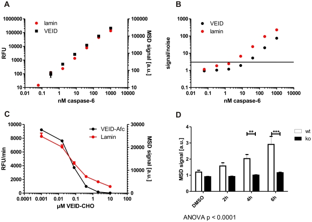 Increased sensitivity and highly improved specificity in a lamin-based caspase-6 activity assay. A+B: Quantities of down to 10 nM active caspase-6 can be detected with the novel lamin A-based caspase-6 assay while maintaining a signal-noise ratio of > 3. C: The peptide inhibitor VEID-CHO shows a similar IC 50 value in both the VEID- and the lamin A- based caspase-6 assays. D: The lamin A-based caspase-6 assay is highly specific, with no signal generated from C6ko cells even after 6 h of staurosporine stress. Error bars are the SEM of N≥3 of 3 independent experiments. Statistical significance was assessed by 2-way ANOVA and post-hoc Bonferroni comparisons: *** p