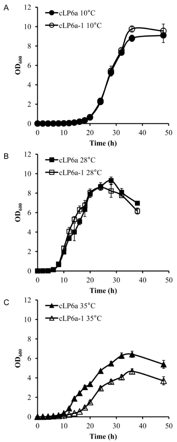 Growth curves of P. fluorescens strains cLP6a and cLP6a-1 . Growth of P. fluorescens strains cLP6a and cLP6a-1 at (a) 10°C, (b) 28°C or (c) 35°C determined as <t>OD600</t> Each data point is the mean of three independent cultures, and error bars, where visible, indicate the standard deviation.