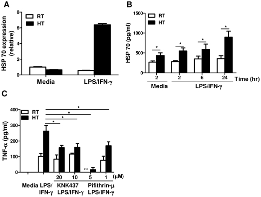 <t>HSP70</t> plays a role in mediating thermally-enhanced TNF-α production in macrophages. A , Peritoneal macrophages were isolated from LPS-challenged mice after 2 hour heat treatment. Cells were recovered overnight and re-stimulated (1×10 6 /well) in vitro with LPS and IFN-γ at 37°C for 4 hours, then HSP70 mRNA level was measured by quantitative real-time PCR. The results are presented relative to GAPDH and baseline expression in unstimulated cells from RT-mice. B , Macrophages (2×10 5 /well) from LPS-challenged mice were re-stimulated with LPS and IFN-γ at 37°C for 2, 6 or 24 hours to examine HSP70 secretion by ELISA. C , Macrophages (2×10 5 /well) from LPS-challenged mice were re-stimulated with LPS and IFN-γ at 37°C for 6 hours with or without HSP70 inhibitors: KNK437 (20, 10 µM) or Pifithrin-µ (5, 1 µM) to detect TNF-α production by ELISA. Cells from each treatment condition were pooled from 2–4 mice and measured in triplicate. Data are mean ± SD. Data are representative of two independent experiments. * In comparison of cells with and without HSP70 inhibitors from WBH-mice. ** In comparison of cells with and without HSP70 inhibitors from RT-mice. *, ** p