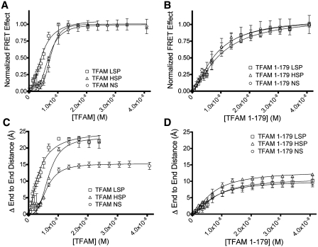 DNA binding and bending of TFAM and TFAM 1-179. Binding curves of FRET effect for 3.4 nM FAM/TAMRA labeled DNA titrated with ( A ) TFAM, and ( B ) TFAM 1-179. Binding isotherms were fitted to a cooperative binding model. The change in end-to-end distance for FAM/TAMRA labeled DNA titrated with ( C ) TFAM and ( D ) TFAM 1-179. End-to-end distances were calculated using Equation 4 in the Supplementary Data . The change in end-to-end distance is relative to the distance between the FAM and TAMRA in the absence of protein. The data are an average of three independent experiments, except for five for TFAM with NS and six for TFAM with LSP, with error bars showing the standard deviation.