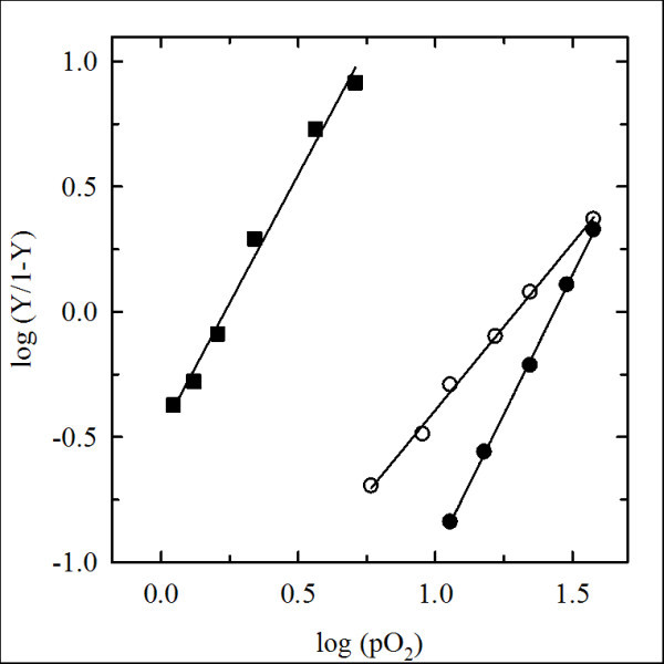 Oxygen binding properties of derivatized hemoglobins . Hill plots of oxygen-binding curves of HbA (closed squares), Tb Hb (closed circles) and PEG Tb Hb (open circles), measured in 100 mM HEPES 1 mM EDTA, 5 mM sodium ascorbate, 10 3 U/ml catalase, pH 7.0, at 10°C. Experimental points are fitted to the Hill equation, with calculated Hill's coefficients and P 50 's reported in Table 1.