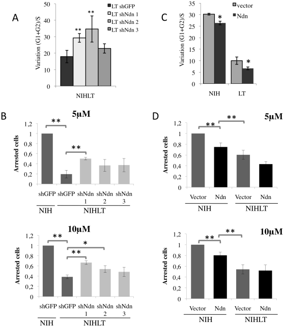 Necdin confers resistance to p53-dependent growth arrest. (A–B) NIHLT cells depleted in Necdin by shRNAs and exposed to nutlin-3 showed an increase in growth arrest (A) measured by DNA content analysis by flow cytometry (as described in figure 4A ) or (B) assessed by Wst-1 colorimetric assay. Results for Wst-1 represent normalized data according to the portion of arrested cells (O.D. untreated – O.D. treated) relative to arrested control NIH after 48 h of exposure to nutlin-3. (C–D) NIH and NIHLT cells overexpressing Necdin showed growth arrest resistance upon nutlin-3 treatment. (C) FACS analysis or (D) Wst-1 colorimetric assay (* P