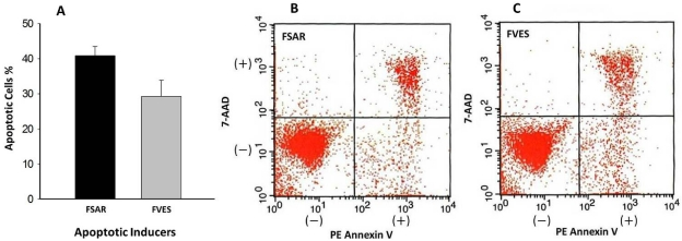 Flow cytometric analysis by Annexin V staining of Melanoma B16 cells treated for 24 h with 0.2 mg/mL crude fucose-containing sulfated polysaccharide (FCSP) products extracted from S. henslowianum C. Agardh (FSAR) and F. vesiculosus (FVES), respectively. ( a ) Apoptosis induced by FSAR (41 ± 3%, n = 2), FVES (30 ± 5%, n = 2); control 11.66 % (data not shown) ( b ) FSAR data and ( c ) FVES data for FACS scans of FCSP treated Melanoma 16 cells that were viable and not undergoing apoptosis (Annexin V − and 7-AAD − ); undergoing early apoptosis, with membrane integrity intact (Annexin V + and 7-AAD − ); in the latest stage apoptosis and dead (Annexin V + and 7-AAD + ), respectively.