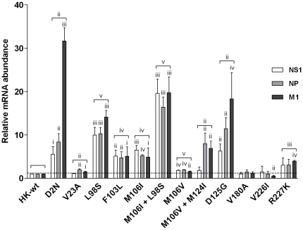 Mouse-adapted NS1 mutations enhance viral mRNA production in mouse cells in vitro . Mouse M1 cells were infected in triplicate at an MOI of 2 with rHK NS mutants or rHK-wt virus, and total RNA isolated at 8 hpi was reverse transcribed using primers specific for viral mRNA. Real-time PCR (qPCR) was performed to quantify NP, M1 and NS1 viral mRNA levels. Results were normalized by β-actin levels, and presented as values relative to rHK-wt mRNA levels. Data represent the means ± SD (two-tailed student's paired t-test) for NP, NS1 and M1 mRNA relative levels (indicated by bracket) or two-tailed student's t-test for individual mRNA relative values (i p