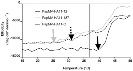 Structural changes in PapMV CP in the different recombinant nanoparticles induced by an increase in temperature. Each of the recombinant nanoparticles (PapMV-HA11-12, PapMV-HA11-187 and PapMV-HA11-C) at a concentration of 0.1 mg/ml were heated in steps of 1°C and secondary structure changes of the protein was monitored by circular dichroism. The read-out was performed at a wave length of 208 nm. The arrows show the point of inflection for each of the nanoparticles. The black bar represents the body temperature of mice (36.9°C).