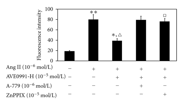 The effect of AVE0991 on Ang II-stimulated ROS production in VSMCs that were pretreated with the HO-1 inhibitor ZnPPIX. * P