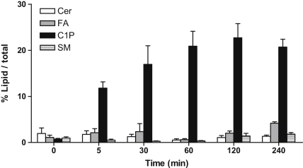 Metabolism of labeled C1P in C2C12 cells. C2C12 myoblasts, approximately 40% confluent, were serum-starved for 24 h and then exposed to 15 μM C1P (100000 dpm/well) for the indicated times. Cell lipids were extracted and analyzed by TLC as described in the Methods section. Results are expressed as the percentage of the radioactivity present in the indicated lipids, <t>ceramide</t> (Cer), fatty acid (FA), C1P and sphingomyelin (SM), compared to that in total lipids and are the mean ± SEM of six independent experiments performed in triplicate.