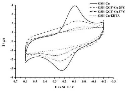 Cyclic voltammograms obtained at the <t>GSH</t> modified electrode in the presence of 1 μM Cu 2+ for 1 h. The GSH has been pre-incubated with 5 U/mL GGT at 37 °C (dash dot line) or 25 °C (dash line) for 30 min, or without GGT (solid line), and then incubated with a gold electrode for 16 h to form the GSH modified electrode. The dot line shows the case that <t>EDTA</t> instead of GGT is added in the test solution. Scan rate: 50 mV·s −1 .