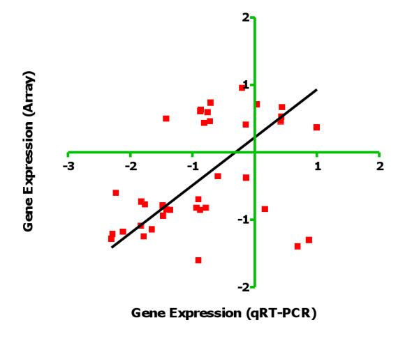 Correlation between expression values for Wolbachia and Brugia malayi genes obtained by microarray (y-axis) and qRT-PCR (x-axis) . Normalized fold change values of microarray experiment and 2 -ΔΔ Ct values of qRT-PCR obtained for the same genes were Log transformed and analysed by the nonparametric Spearman rank correlation test (R = 0.4352; P = 0.007).