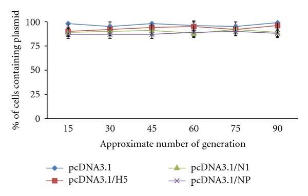 In vitro stability of pcDNA3.1/HA, NA, NP, and pcDNA3.1. Recombinant S. typhimurium containing transfected plasmids were passaged for approximately 100 generations. The percentage of bacteria containing the plasmid was determined by viable count on media without the appropriate antibiotic selection. No significant difference was recorded ( P > 0.05).