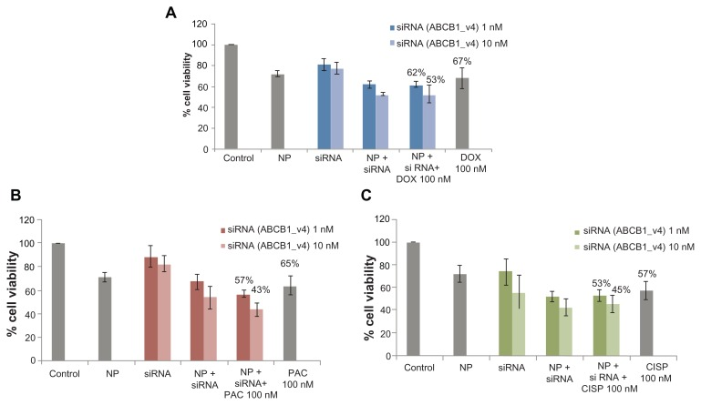 Effect of carbonate apatite-mediated delivery of ABCB1-targeted siRNA (ABCB1_v4) on MCF-7 cell viability in presence of traditionally used chemotherapeutic agents. Anti-ABC siRNA-carbonate apatite complexes were generated by mixing exogenously added 3 mM calcium chloride in 1 mL bicarbonate-buffered DMEM (pH 7.4), followed by addition of anti-ABCB1 siRNA (1 or 10 nM) and incubation at 37°C for 30 minutes. Supplementation of 10% FBS was followed by addition of 100 nM of doxorubicin ( A ) or paclitaxel ( B ) or cisplatin ( C ). Note: Transfection of MCF-7 cells was performed with the siRNA/nanoparticle complexes in presence of the free drugs for a consecutive period of 48 hours and viability of the cells was determined using MTT assay. Abbreviations: NP, nanoparticles; siRNA, small interfering RNA; DOX, doxorubicin; PAC, paclitaxel; CISP, cisplatin.