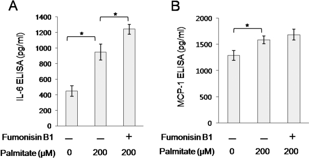 Effect of fumonisin B1 on the palmitate-induced IL-6 and MCP-1 secretion from orbital fibroblasts. Orbital fibroblasts were pretreated with fuminosin B1 (10 μM) for 1 h, followed by treatment with palmitate (200 μM) for 24 h. Concentrations of IL-6 ( A ) and MCP-1 ( B ) were determined by ELISA. Data are presented as the mean±SD of three replicate culture wells from a representative experiment. Similar results were observed in three independent experiments using orbital fibroblasts from #1 patient with TAO ( Table 1 ). * p