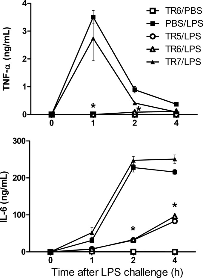Effect of select TIRAP decoy peptides on TNF-α and IL-6 in mouse blood following intraperitoneal injection of LPS. C57BL/6J mice were injected with peptide TR5, TR6, or TR7 or mock-treated 1 h before injection of purified E. coli LPS. Peptides and LPS were injected intraperitoneally at 10 nmol/g or 1 μg/g of animal weight, respectively.