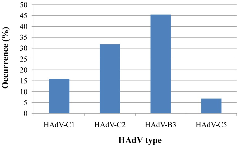 Circulating HAdV types in southern Palestine. HAdV types circulating in Southern Palestine from 2005 to 2010 were detected using nested PCR and DNA sequencing assay of the HAdV hexon gene HVR1–6 followed by sequencing and sequence analysis. The 44 sequences were assigned the GenBank accession numbers [JQ796022–JQ796065]. The percentage of each serotype was calculated relatively to the number of total sequenced samples (44 samples).