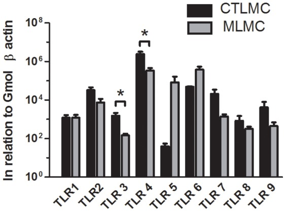 Relative expression of TLRs (1–9) in CTLMC and MLMC. RNA purified from CTLMC and MLMC was subjected to quantitative real-time PCR using SYBR Green for the indicated TLRs. The relative gene expression levels were determined in triplicates by difference in Ct numbers and results were described as in relation to Gmol β actin. Data are plotted as mean ± SEM and derived from 4–6 independent experiments.
