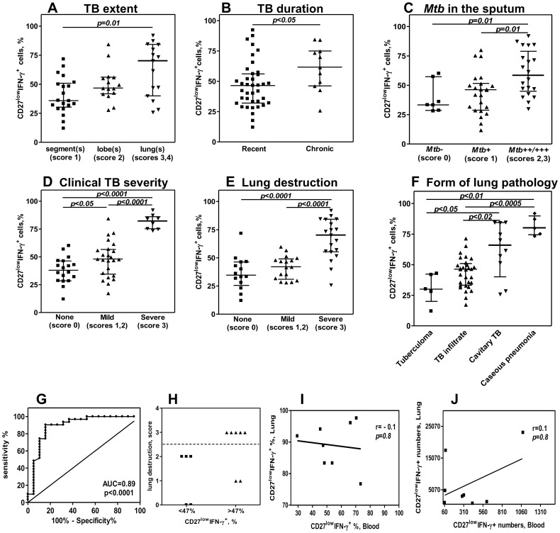 Association between blood CD27 low IFN-γ + cells and different manifestations of TB disease. A–F, Percentages of CD27 low IFN-γ + cells in TB patients (n = 50) grouped based on different characteristics of TB disease. For multiple (seven) parameter testing, p- value