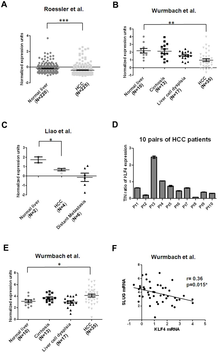 Down-regulation of KLF4 mRNA is frequently observed in HCC cell tissues. (A) Decreased KLF4 mRNA levels in HCC tissues (N = 225) in comparison with normal liver tissues (N = 220) [31] . Data were obtained from GEO/GSE14520 and statistics were calculated by unpaired t test. ***, p