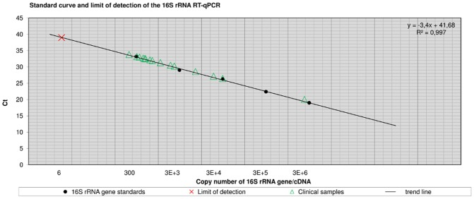 Standard curve and limit of detection of the 16S rRNA RT-qPCR. Figure 3 shows Ct-values of clinical samples plotted versus quantified 16S rRNA copy numbers. Standards for the 16S rRNA RT-qPCR were generated by conventional PCR amplification ( Table 5 ). Log 10 fold serial dilutions ( n = 5) were prepared ranging from 3E+6 to 300 copies of the 16S rRNA gene (PCR template: 2 µl) and were subjected to the assay in quadruplicate to generate a calibration curve. The regression line was y = −3.4x+41.68 with a coefficient of correlation > 0.99 and the efficiency was E = 0.97. M. ulcerans whole genome extracts were quantified by means of IS 2404 qPCR and the analytical sensitivity was determined as limit of detection (LOD) by subjecting 10 aliquots of a dilution series containing 30, 15, 10, 8, 6, 3, or 2 copies of the 16S rRNA gene to the assay. The LOD was 6 copies of the target sequence. The copy number ( n = 1) of the 16S rRNA gene per M. ulcerans genome was determined by copy number variation assay (unpublished data).