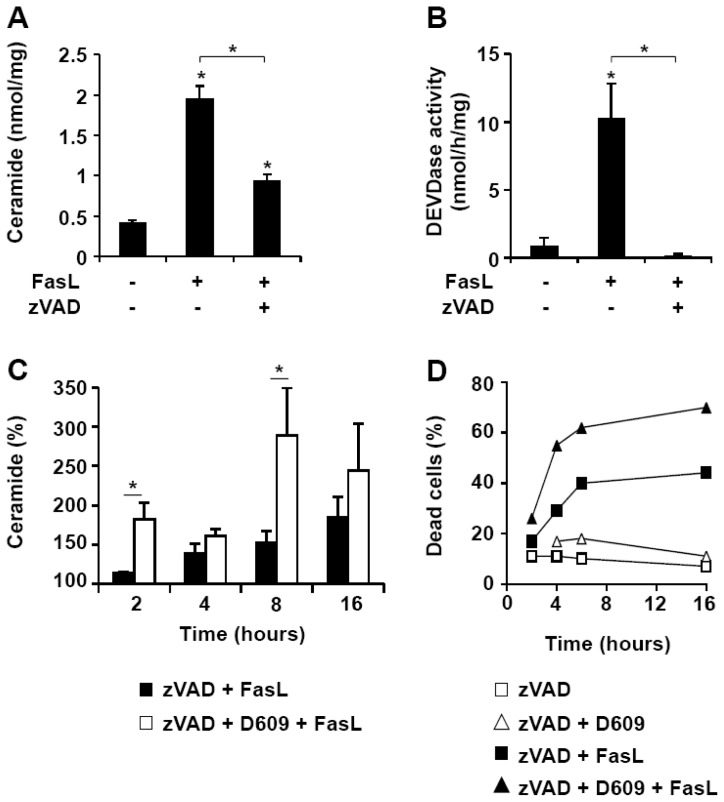 D609 enhances FasL-induced caspase-independent ceramide increase and cell death. Jurkat cells (clone A3) were pre-incubated in the presence or absence of 40 μM zVAD-fmk for 1 h and further incubated with or without FasL (500 ng/mL) for 16 h or the indicated times. Ceramide level (expressed as nmol of ceramide per mg of protein) ( A ) and caspase activity toward <t>Ac-DEVD-AMC</t> ( B ) were measured. ( C ) Cells were pre-incubated for 1 h with 40 μM zVAD-fmk (black bars) or a combination of 40 μM zVAD-fmk and 50 μg/mL D609 (white bars). Cells were further incubated with 500 ng/mL FasL for the indicated times and ceramide concentration was measured. Data are expressed as the percentage of values measured in cells incubated with zVAD-fmk alone. ( A – C ) Values are means ± S.E.M. of three independent experiments. ( D ) Cells were pre-incubated for 1 h with 40 μM zVAD-fmk in the presence (triangles) or absence (squares) of 50 μg/mL D609. Cells were further incubated for the indicated times with (solid symbols) or without (empty symbols) 500 ng/mL FasL. Cell death was evaluated by flow cytometry after annexin-V-FITC and propidium iodide labeling. Under these conditions, most of the dead cells were labeled by both annexin-V-FITC and propidium iodide. Data are representative of two independent experiments.