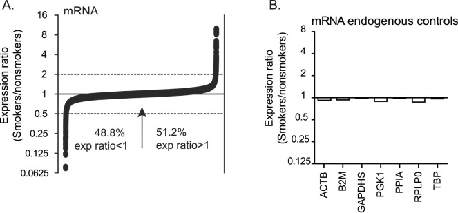 Expression profiling indicates similar numbers of mRNAs are upregulated and downreglated in alveolar macrophages of cigarette smokers and nonsmokers. Smoker-to-nonsmoker mRNA expression ratios were determined using RNA from alveolar macrophages as template in GeneChip Human Exon 1.0 ST cDNA microarrays (Affymetrix). The RNA was collected from alveolar macrophages directly isolated from four nonsmokers and four smokers (cohort 1). A) Smoker-to-nonsmoker expression ratios are represented by black circles in order from lowest to highest for the 17,860 detected cDNAs. The arrow indicates the point where specific mRNA expression ratios in smokers and nonsmokers = 1. B) The expression ratios are shown for several commonly used endogenous controls. (ACTB = actin, beta; B2M = beta-2-microglobulin; GAPDHS = glyceraldehyde-3-phosphate dehydrogenase, spermatogenic; PGK1 = phosphoglycerate kinase 1; peptidylprolyl isomerase A; RPLP0 = ribosomal protein, large, P0; TBP = TATA box-binding protein).