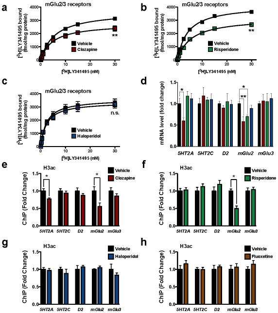 Decreased acetylation of histone H3 at the mGlu2 promoter by chronic treatment with atypical antipsychotic drugs in mouse frontal cortex ( a–d ) Chronic clozapine and risperidone, but not haloperidol, modulate the expression of mGlu2 in mouse frontal cortex. Mice were chronically (21 days) injected with vehicle (black), 10 mg/kg clozapine (red), 4 mg/kg risperidone (green), or 1 mg/kg haloperidol (blue), and sacrificed one day after the last injection. ( a–c ) [ 3 H]LY341495 binding in mouse frontal cortex after vehicle or chronic clozapine ( a ), risperidone ( b ) or haloperidol ( c ). Effect of clozapine (n = 4 independent experiments performed in triplicate), F[2,95] = 65.34, P