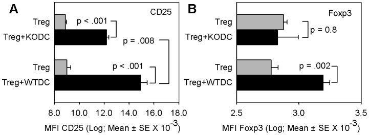 Dendritic cell IL-2 increases Treg phenotype. DO11.10 CD4 + CD25 + Treg cells were cultured without or with BMDCs from either WT or IL-2 −/− KO (on B6 background) mice in transwells and the level of CD25 (A) and Foxp3 (B) on Treg cells was measured by flow cytometry as in materials and methods. A: Bars are the mean ± SE of mean fluorescent intensity (MFI) of CD25 levels on Thy1.2-gated Tregs of triplicate samples from one of four representative experiments. Statistical analysis was by Tukey's test for all pairwise comparisons. B: Bars are the mean ± SE of mean fluorescent intensity (MFI) of Foxp3 levels on Thy1.2-gated Tregs of triplicate samples from a single experiment. Statistical analysis was by Tukey's test for all pairwise comparisons.