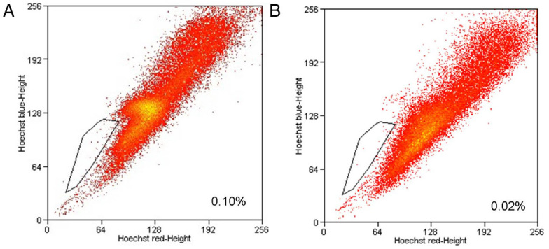 Existence of stem-like side population cells in the human retinoblastoma WERI-Rb1 cell line. The cells were stained with Hoechst 33,342 and sorted with flow cytometry.  A : A small population of cells (0.075±0.017%) was identified.  B : Addition of 50 μM verapamil markedly reduced the staining of the SP cells. (n=3; x-axis, Hoechst red fluorescence intensity; y-axis, Hoechst blue fluorescence intensity).