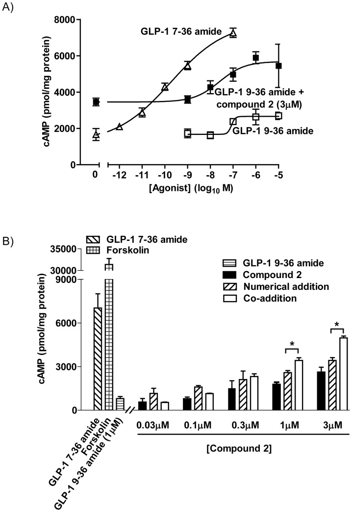 Compound 2 potentiates GLP-1 9–36 amide-mediated cAMP generation by membranes from HEK-GLP-1R cells. Cell membranes prepared from HEK-GLP-1R cells were incubated with ligands as indicated for 5 min at 30°C in the presence of IBMX before determination of cAMP. A) Concentration-dependent cAMP generation in response to GLP-1 7-36 amide or to GLP-1 9–36 amide either alone or in combination with 3 µM compound 2.  B ) Responses to GLP-1 9–36 amide or compound 2 alone or the two in combination. The numerical sums of cAMP generation in response to GLP-1 9–36 amide and compound 2 are shown. Data are mean±/+s.e.m., n=3. For * P