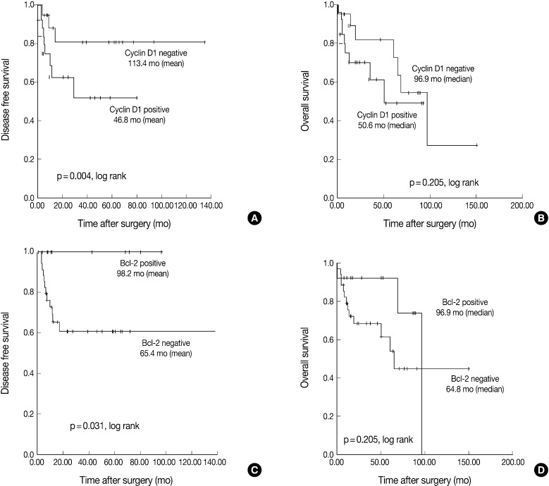 Survival curves obtained using the Kaplan-Meier method by the log-rank test. (A, C) Disease free survival for cyclin D1 and Bcl-2. (B, D) Overall survival for cyclin D1 and Bcl-2.