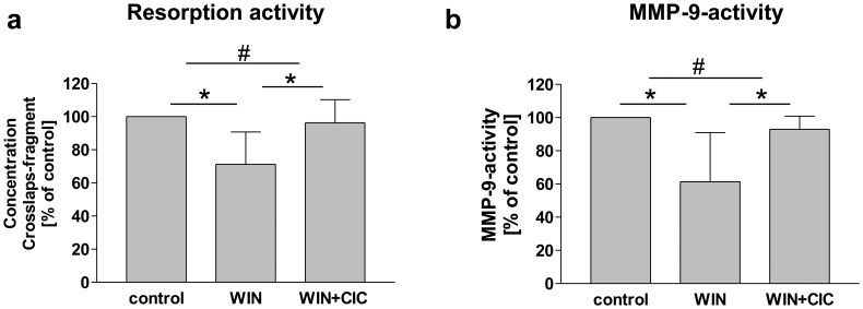 WIN reduced bone resorption and MMP-9-activity in a capsaicin sensitive manner. (a) Measurement of resorption activity of osteoclasts using crosslaps-ELISA of conditioned medium. Treatment with WIN (4 µM) reduced the osteolytic activity compared to control cells (vehicle treated). Additional treatment with capsaicin (CIC) antagonized this decrease. Data are shown as means +/− SD, n = 5. (b) MMP-9-activity-ELISA of conditioned medium of osteoclasts. Treatment with WIN (4 µM) decreased MMP-9-activity significantly compared to control cells (vehicle treated) and this decrease was antagonized by parallel treatment with CIC. Data are shown as mean +/− SD, n = 5. *p