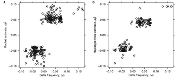 Correspondence between estimated pooled allele frequency differences and actual differences determined by individual genotyping . For this analysis, we included data for single nucleotide polymorphisms (SNPs) having call rates of at least 90 per cent. (A) The correlation between estimated and actual allele frequency differences for 267 SNPs is 0.82. (B) For 164 SNPs in haplotype blocks with fitted p