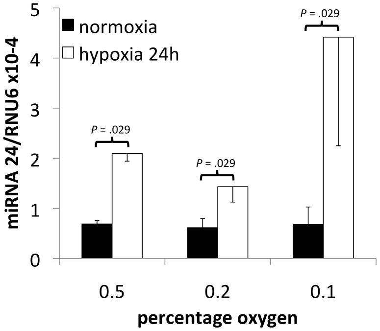 miRNA-24 expression after hypoxia. Expression levels (average +/− SD, n = 4) measured by <t>RT-qPCR</t> of miRNA-24 controlled for <t>RNU6</t> expression in MDA-MB-231 cells exposed to 0.5%, 0.2% or 0.1% oxygen during 24 hours.