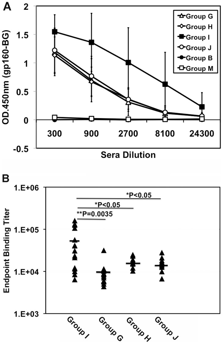 Priming with the coexpression vector m8 Δ-Env/hCD40Lm induces greater amounts of Env-specific antibodies. Serum from individual immunized mice was analyzed using an HIV-1 JR-CSF gp160 ELISA assay. The plates were developed with <t>HRP-conjugated</t> anti-mouse <t>IgG</t> antibody. (A) The titer of Env-specific antibodies was determined by OD 450 values subtracted from the background values. Data are mean ± SD of the Env-specific antibody titer of all animals in each group (n = 16 for group G and I; n = 8 for group H and J; n = 5 for group B and M). (B) Endpoint binding titer of sera against HIV-1 JR-CSF gp160 from each of vaccine groups was plotted. The titer in the group primed with m8ΔEnv/hCD40Lm was significantly different from all other groups. There are no significant differences in env-specific antibody titer among the group G, H and J.