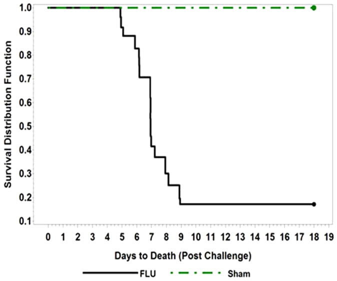 Survival of ferrets following challenge with 7 × 10 5 TCID 50 of A/Vietnam/1203/04 virus. Kaplan-Meier Curves representing the survival distribution for ferrets over the 18-day period following challenge.
