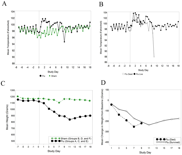Change in body temperature and body weight following infection with A/Vietnam/1203/04 virus. Temperatures were taken twice daily prior to challenge and then at approximately eight-hour intervals from 8–96 hours by use of subcutaneous implantable temperature transponders. After 96 hours, temperatures were recorded twice daily. Body weights were taken every other day, beginning on day 0 until the end of the study (day 18) or death of the animal. Weights taken immediately prior to challenge on day 0 served as baseline. (A) Mean body temperature, (B) Mean temperature comparison between survivors and animals that succumbed to disease, (C) mean body weight, (D) mean change from baseline weight for influenza-infected animals by survival status.