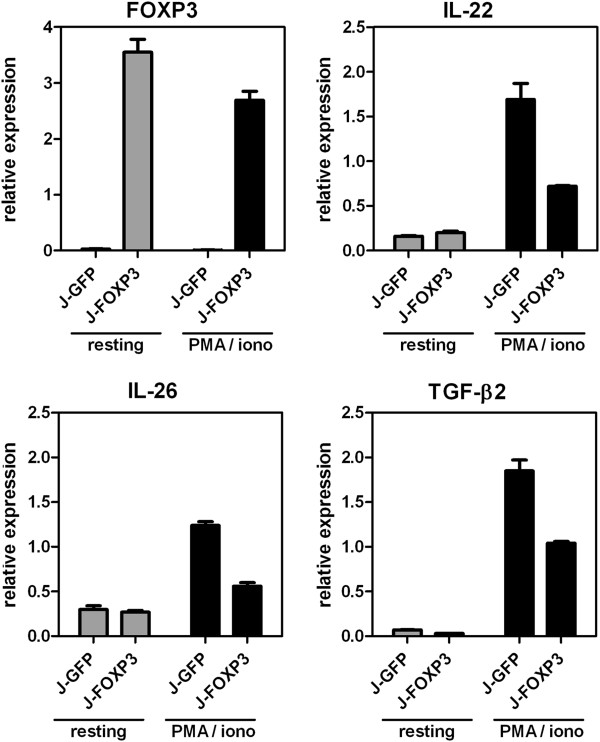 Validation of FOXP3-dependent gene repression. Expression of IL-22, IL-26 and TGF-β2 in resting and PMA/ionomycin-stimulated J-FOXP3 T cells by quantitative real-time RT PCR. Bars represent mean ± SD of duplicate measurements and are representative for two independent experiments.