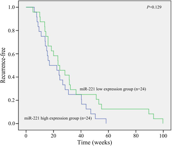 Relationship between recurrence and expression of miR-221. Forty-eight cases were followed up and the patients with high expression of miR-221 had a shorter time-to-recurrence compared to those with low expression.