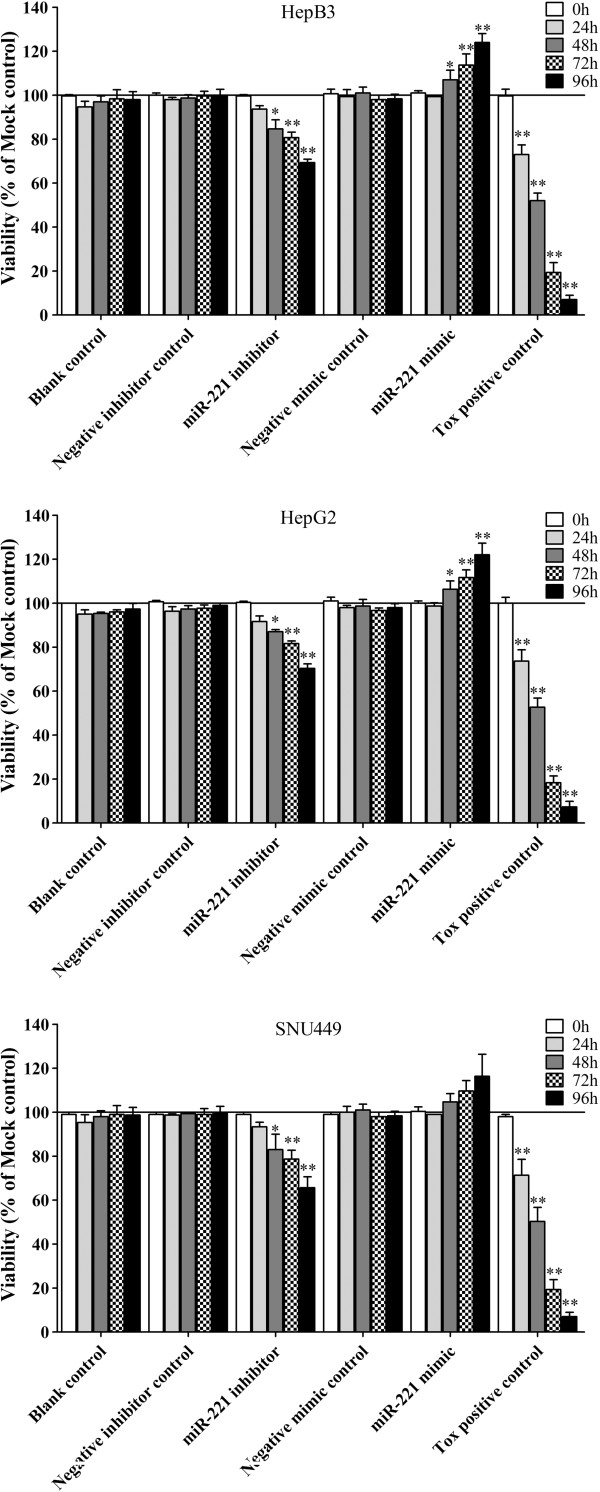Effect of miR-221 on cell viability of HCC cells by CellTiter-Blue Cell Viability Assay. HCC cells were incubated in the presence of miR-221 inhibitor, mimic and different controls for 0, 24, 48, 72 and 96 hrs, and the cell viability was measured using the CellTiter-Blue Cell Viability Assay. * P