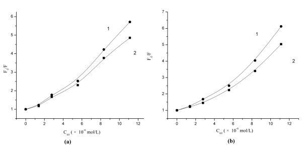 Stern-Volmer plots of HSA (a) and BSA (b) synchronous fluorescence quenching by C 60 . (1): Δλ=60 nm; (2): Δλ=20 nm.