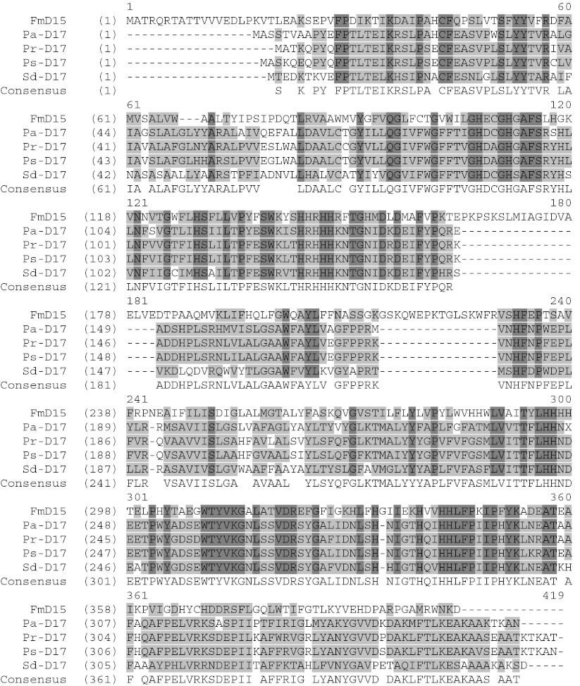 Sequence comparison of selected ω-3 desaturases. The amino acid sequences of five ω-3 desaturases were compared using the AlignX module of Vector NTI. FmD15: F. monoliforme Δ-12/Δ-15 <t>desaturase.</t> PrD17: P. ramorum <t>Δ-17</t> desaturase. PsD17: P. sojae Δ-17 desaturase. PaD17: P. aphanidermatum Δ-17 desaturase. SdD17: S. diclina Δ-17 desaturase. Lighter shaded areas indicate conserved residues. Darker shaded areas indicate identical residues